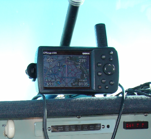 Garmin GPS mounted on Mooney Tube