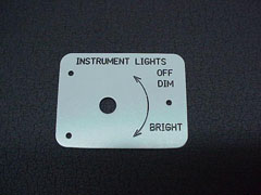 Instrument Lighting Placard